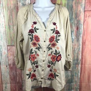Sonoma floral buttondown Top